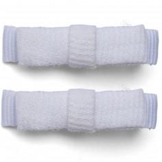 Barrettes Classique mini noeud kimono coton piqu� blanc (lot de 2) - Luciole et petits pois