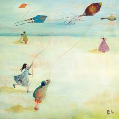 Tableau Les cerfs-volants by Manuela Magni (30 x 30 cm) - Lilipinso