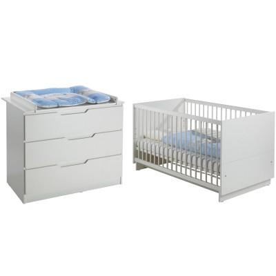 pack duo fresh blanc lit b b volutif et commode langer. Black Bedroom Furniture Sets. Home Design Ideas