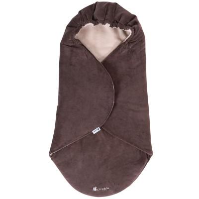 Couverture nomade velours réversible taupe foncé et taupe clair (0-6 mois)