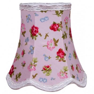 abat jour rose floral rose pour lampe 15 x 15 cm. Black Bedroom Furniture Sets. Home Design Ideas