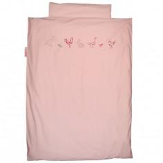 Housse de couette et taie d'oreiller Animaux de la ferme rose (140 x 200 cm) - Taftan