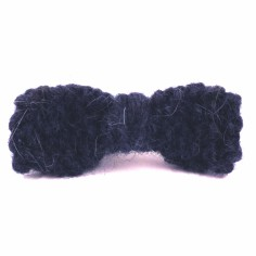 Barrette grand noeud tricot� main bleu fonc� (7 cm) - Mamy Factory