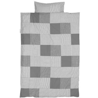 Housse de couette et taie d'oreiller patchwork gris (100 x 135 cm)