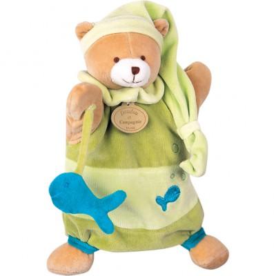 Doudou marionnette théodore l'ours vert (25 cm)