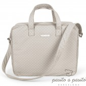 Valisette de maternit� Atelier beige � pois blanc - Pasito a pasito
