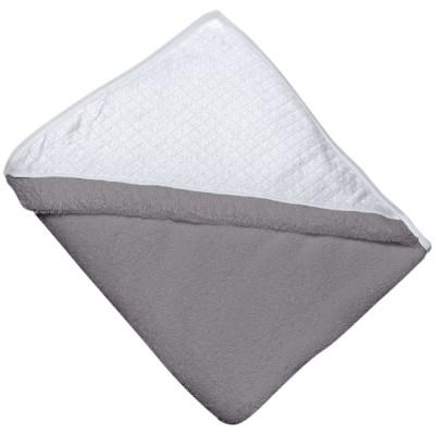 Tablier cape de bain fleur de coton grise capuche blanche (100 x 100 cm)