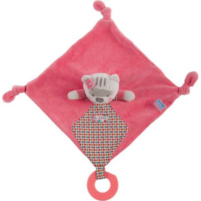 Doudou plat rose avec anneau de dentition magic forest (22 cm)