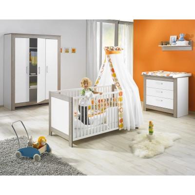 Pack duo marlene blanc et marron foncé lit bébé évolutif et commode à langer