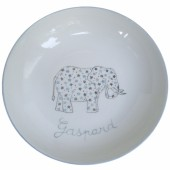 Assiette creuse Elephant gris personnalisable - Laetitia Socirat
