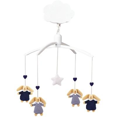 Mobile musical lapin nid d'ange bleu marine et marinière