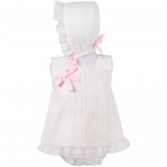 Robe courte de bapt�me blanche et rose brod�e avec bloomer et b�guin (6 mois : 68 cm)  - Alves