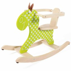 Cheval � bascule vert anis � pois blancs - Scratch