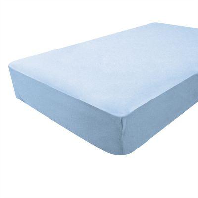 drap housse jersey bleu ciel bambou 60 x 120 cm. Black Bedroom Furniture Sets. Home Design Ideas