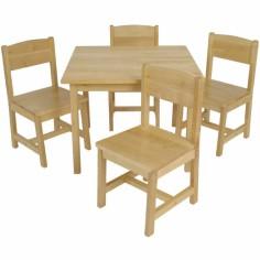 Ensemble table de ferme et ses 4 chaises bois naturel - KidKraft