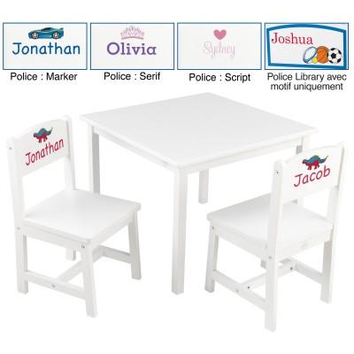 ensemble table et 2 chaises enfant aspen en bois blanc. Black Bedroom Furniture Sets. Home Design Ideas