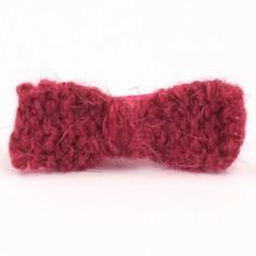 Barrette petit noeud tricot� main framboise (5 cm) - Mamy Factory