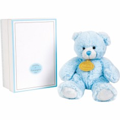 Coffret peluche musical ours bleu (15 cm) - Doudou et Compagnie