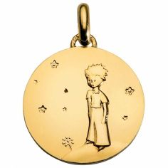 Médaille Le Petit Prince sur sa planète 18 mm (or jaune 750°)