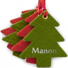 Kit d�coration de No�l en feutrine sapins rouges et verts - Les Griottes