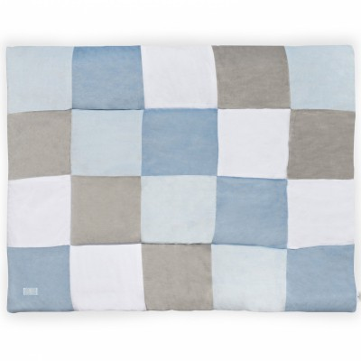 tapis de jeu patchwork bleu et gris 100 x 140 cm jollein. Black Bedroom Furniture Sets. Home Design Ideas