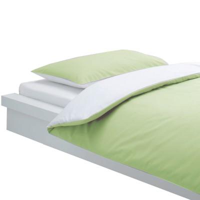Housse de couette et taie bicolore blanc et vert anis 100 for Housse de couette 140 x 150