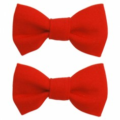 Barrettes Classique mini noeud papillon rouge (lot de 2) - Luciole et petits pois