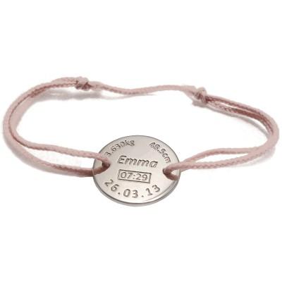 bracelet cordon de naissance rose personnalisable plaqu. Black Bedroom Furniture Sets. Home Design Ideas