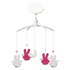 Mobile musical Ange Lapin rose et fuchsia - Trousselier