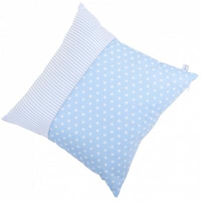 coussin carr bleu ciel toile et rayure 40 x 40 cm. Black Bedroom Furniture Sets. Home Design Ideas