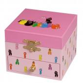 Coffret � bijoux musical cube rose famille Barbapapa - Trousselier