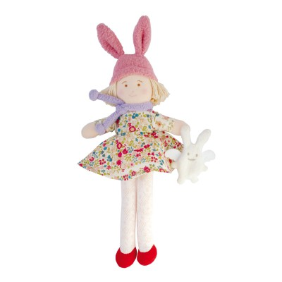 Poupée bonnet lapin robe Liberty rouge (22 cm)