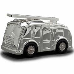Tirelire Camion de pompiers personnalisable (métal argenté)