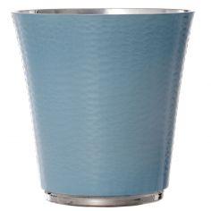 Timbale bleu azur personnalisable (m�tal argent� et �mail) - Orf�vrerie de Cr�vigny
