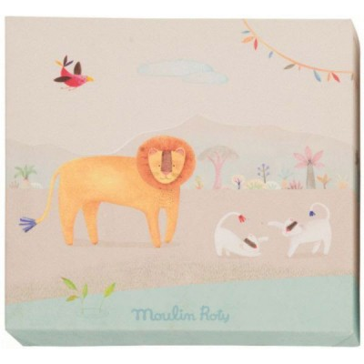 Tableau lion les papoum 22 x 22 cm moulin roty for Meubles flamant outlet
