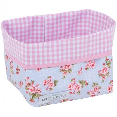 Panier de rangement floral rose et bleu (petit modèle)