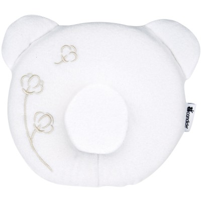 Coussin anti-tête plate p'tit panda nature blanc
