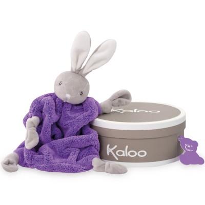 Coffret doudou plat néon lapin violet (20 cm)