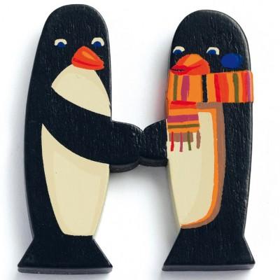 Lettre h en bois pingouins achille