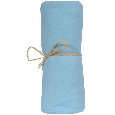 Drap housse jersey coton bio bleu d'eau (40 x 80 cm)