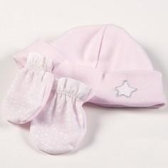 Ensemble bonnet et mouffles Etoile rose