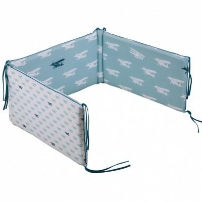 Tour de lit bébé Mint airplane pour lits 60 x 120 et 70 x 140 cm