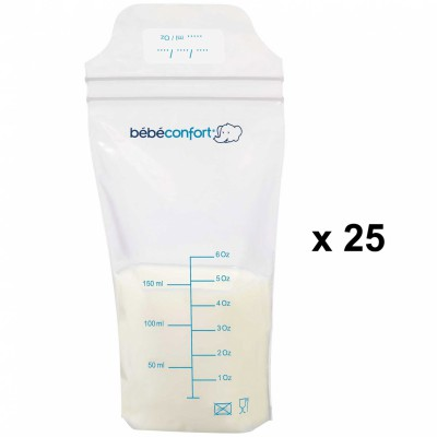 Lot de 25 sachets de conservation du lait maternel (150 ml)