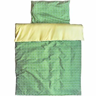 Housse de couette + taie d'oreiller lit bébé geo green (110 x 135 cm)