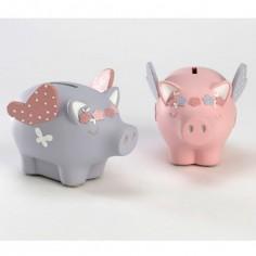 Tirelire cochon fille (coloris al�atoire) - Amadeus