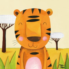 Tableau Moka le tigre by Melie Melane (30 x 30 cm) - Lilipinso
