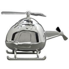 Tirelire H�licopt�re personnalisable (m�tal argent�)  - Orf�vrerie de Cr�vigny