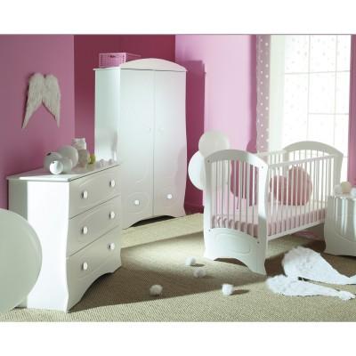 Pack trio chambre bébé perle lit à barreaux, commode et armoire