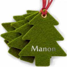 Kit d�coration de No�l en feutrine sapins verts - Les Griottes