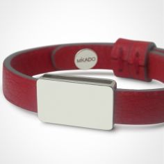 Bracelet cuir Hip-Hop Cerise (or blanc 750� et cuir) - Mikado